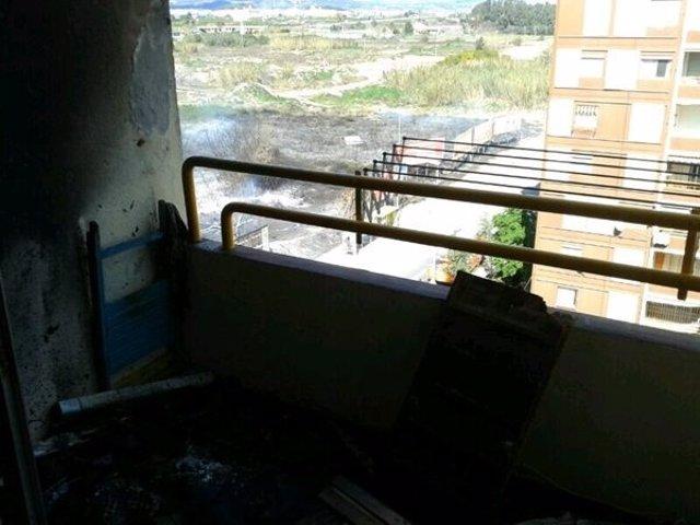 Vivienda de la Pobla afectada por el incendio