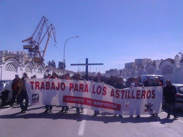 Manifestación de los trabajadores de Navantia- Cádiz