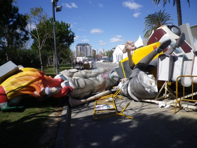 Estado de la Falla de la UPV derribada por el viento