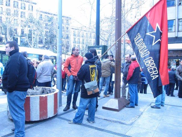 Imagen de la concentración de empleados de Metro