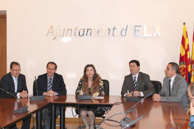 Mercedes Alonso junto a Carlos Eleno, M.A. Cámara y Antonio Sevilla