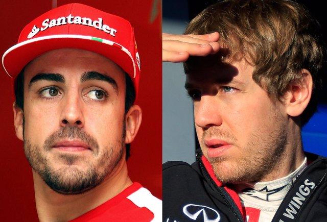 Fernando Alonso (Ferrari) y Sebastian Vettel (Red Bull)