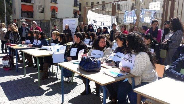 Protesta del AMPA del CEIP Antonio Machado de Jerez
