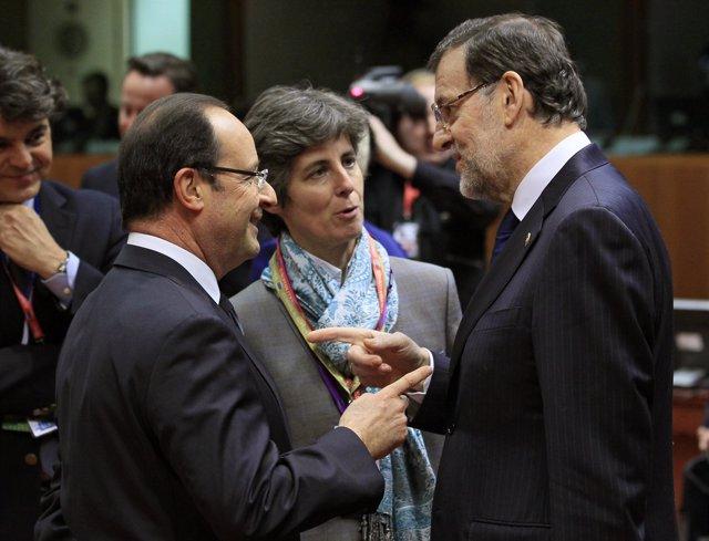 Rajoy y Hollande en el Consejo Europeo de Bruselas