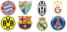Escudos de los clasificados para los cuartos de final de la Liga de Campeones