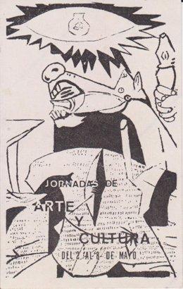 Pegatina inspirada en 'El Guernica' de la muestra 'Arte en pegatinas' del CDAN