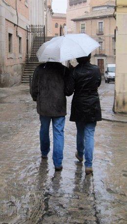 Lluvia, paraguas, frío, viento, temporal, invierno