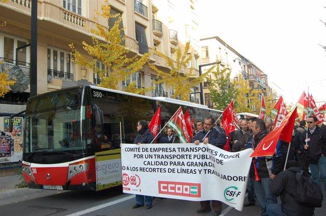 Manifestación en diciembre de Trabajadores de Transportes Rober
