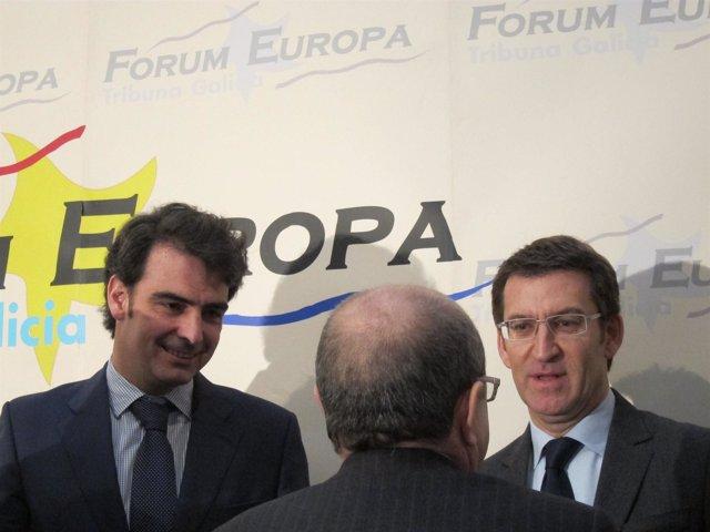 Diego Calvo y Alberto Núñez Feijóo tras un desayuno informativo