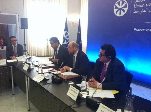F.Sijiassi (secr.UpM),M.Schulz (pte.PE),K.Ghellab(pte.Asamblea reptes.Marruecos)