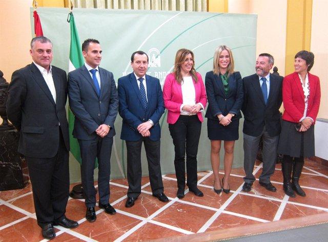 Susana Díaz con delegados de la Junta en Málaga