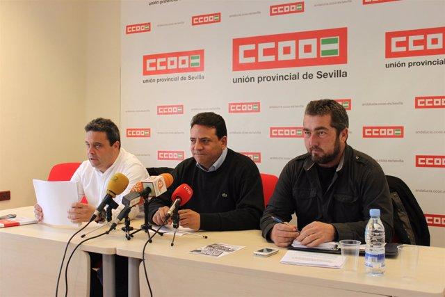 Dirigentes de la Federación de Industria de CCOO-A hablan sobre Aznalcóllar