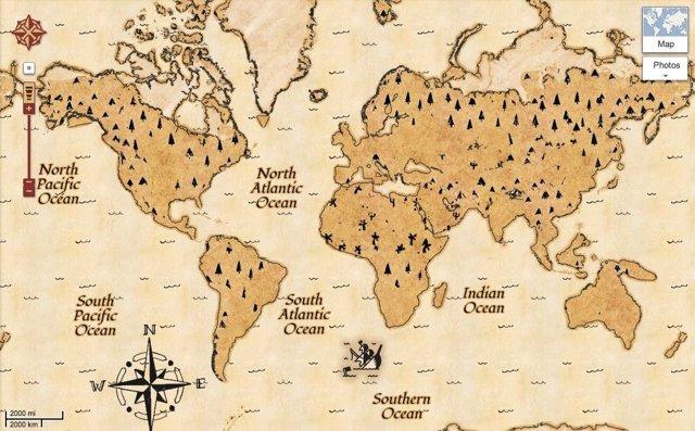 Mapa del tesoro en Google Maps