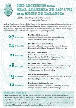 Cartel del ciclo 'Seis lecciones de la Real Academia de San Luis'.