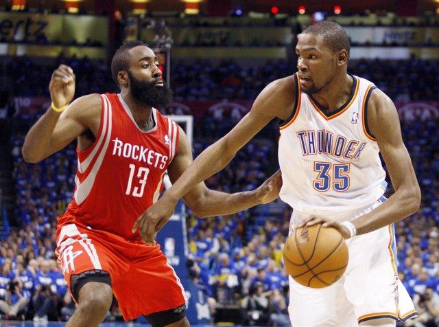 James Harden y Kevin Durant en el Houston Rockets - Oklahoma Thunder