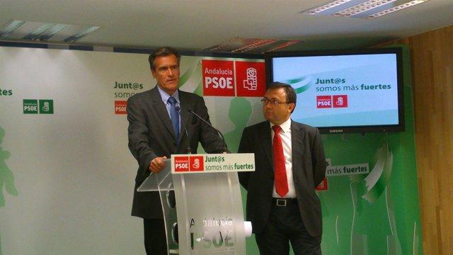 Juan Fernando López Aguilar eurodiputado PSOE y Miguel Angel Heredia PSOE Málaga