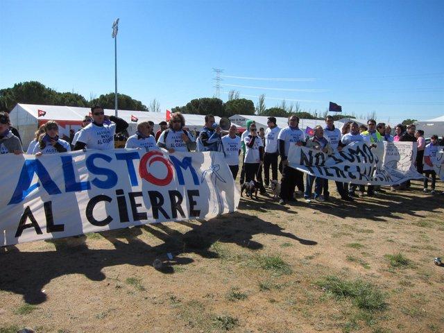 Trabajadores de Alstom se manifiestan en Villalar