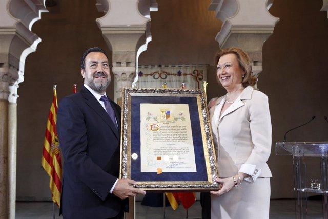 La presidenta de Aragón y el presidente de la ONCE