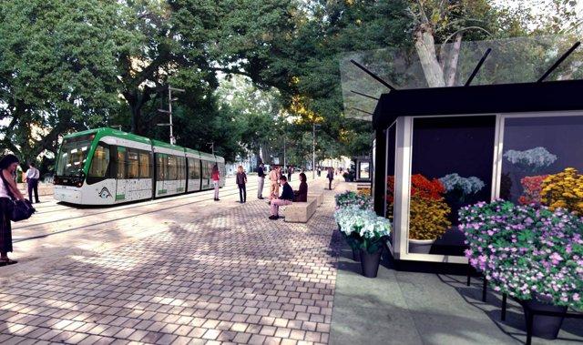 Recreación del metro en superficie por el centro de Málaga