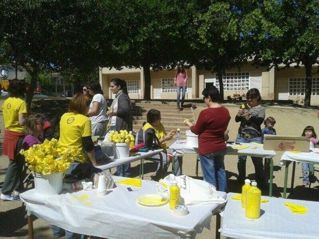 Las escuelas públicas se tiñen de amarillo en Sant Jordi