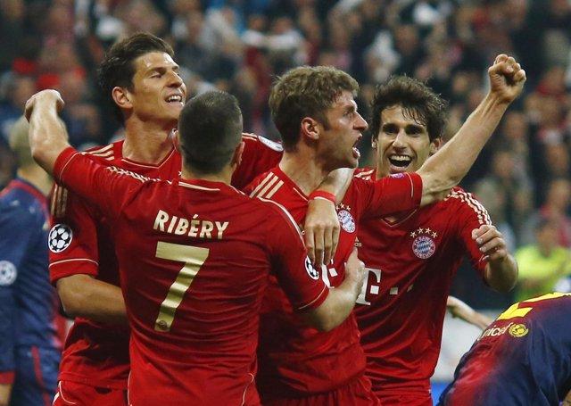 Thomas Muller Celebra Un Gol Ante El FC Barcelona
