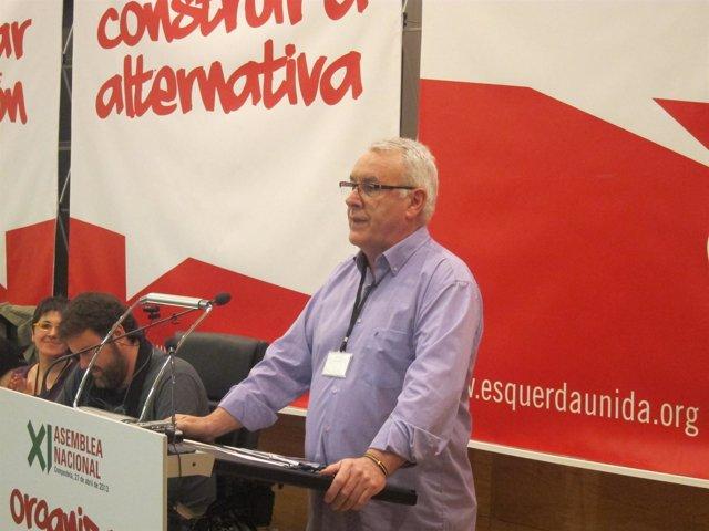Cayo Lara en su intervención en la XI asamblea de Esqueda Unida
