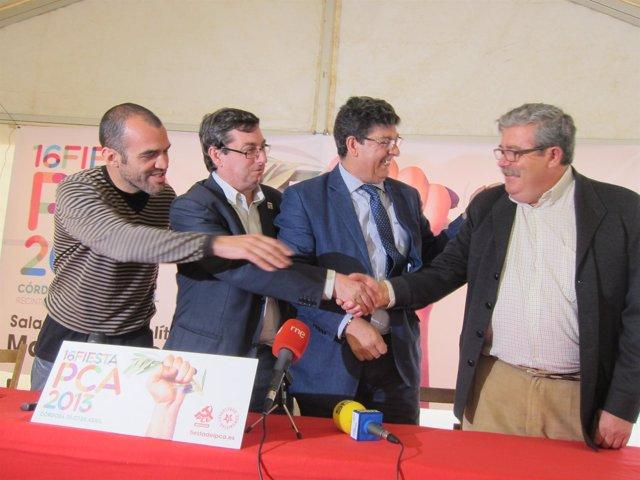 Mariscal Centella y Valderas saludan efusivamente a Antonio Romero