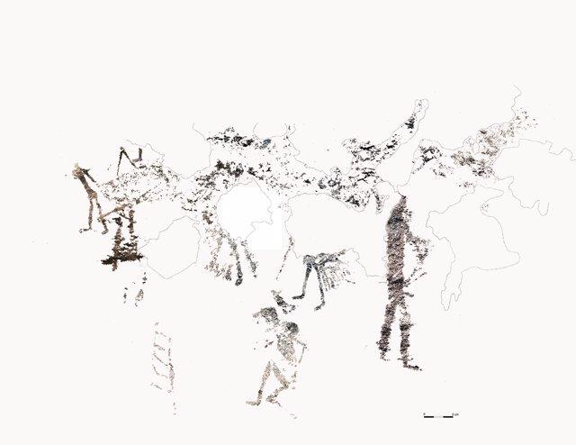 Imagen de la pintura rupestre encontrada en La Costera (Valencia)