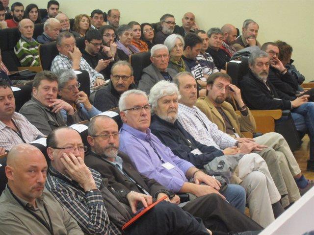 Cayo Lara junto a Xosé Manuel Beiras en la XI Asamblea de EU