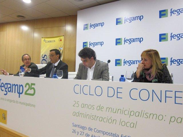 Los presidentes de las diputaciones de Coruña, Huelva y León en las jorandas