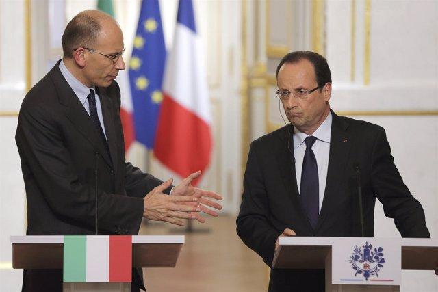 Presidente Francia, François Hollande, Y El 1Er Ministro Italia, Enrico Letta