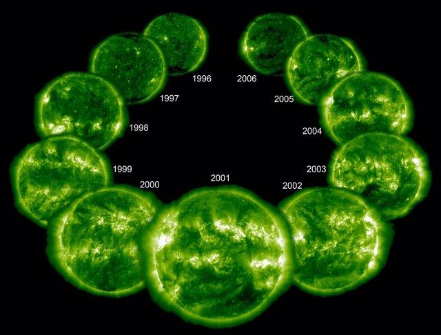 Imágenes de la corona del Sol durante su último ciclo completo (1996-2006).