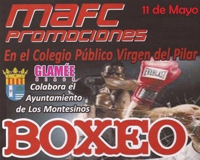 Cartel anunciador de una velada de boxeo en Los Montesinos