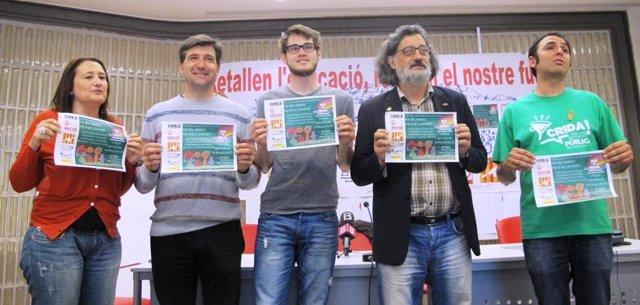 Representantes de los sindicatos convocantes de la manifestación