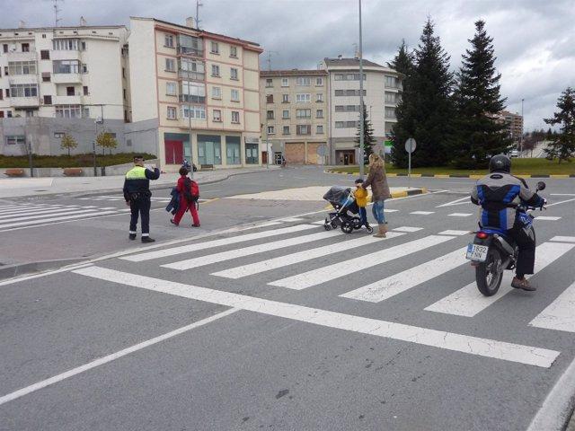 Paso de peatones en Pamplona.