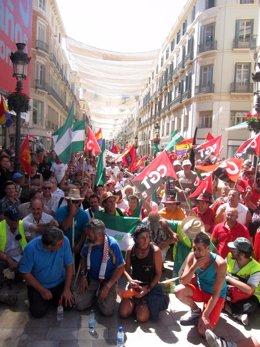 Sánchez Gordillo durante la marcha del SAT en Málaga