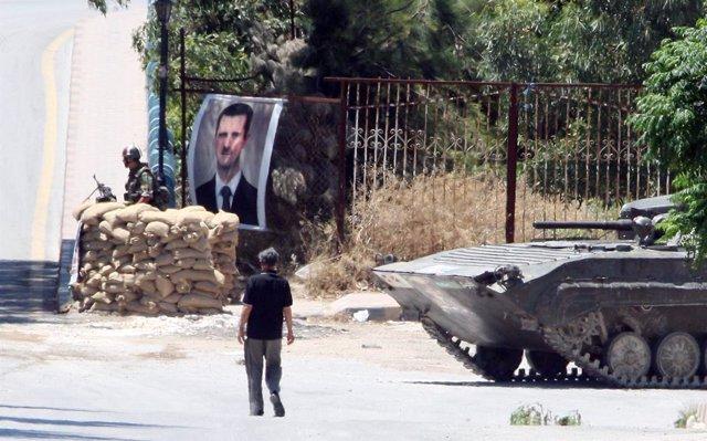 Puesto de control del ejército sirio leal a Al Assad