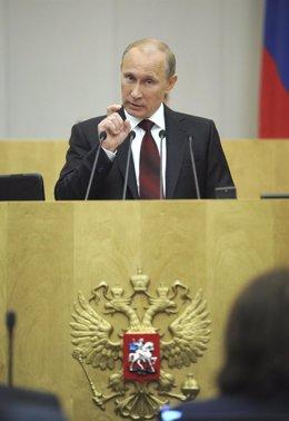 Vladimir Putin En Un Discurso Pronunciado En El Parlamento