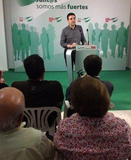 Mario Jiménez en un acto en Olivares (Sevilla)