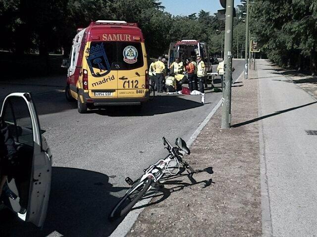 Atención al ciclista herido