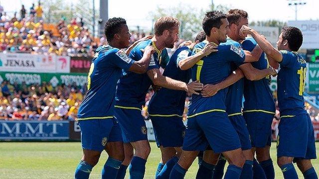 El Villarreal celebrando un gol en Alcorcón