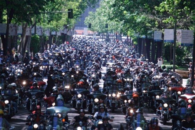 Concentración de Harley Davidson en Madrid