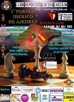 Cartel Del I Torneo Ibérico De Ajedrez En Cáceres