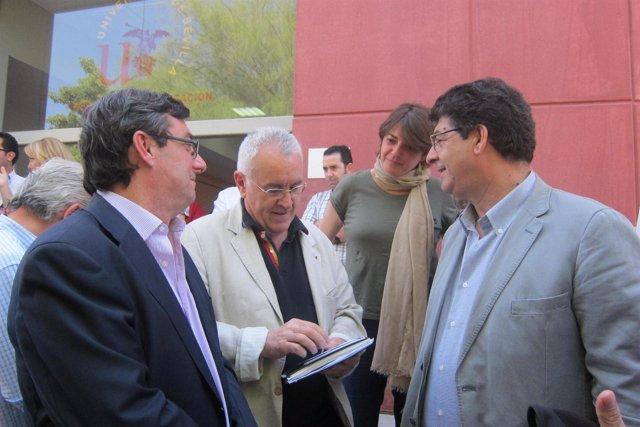 Centella, Cayo Lara, Elena Cortés y Diego Valderas, hoy en Sevilla