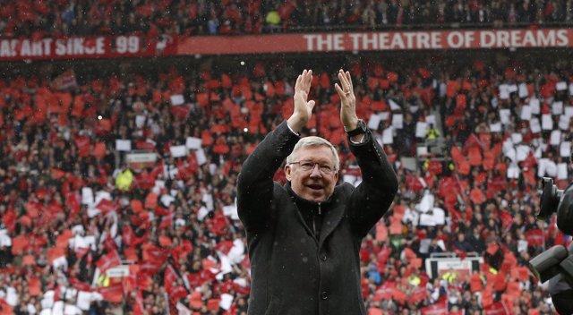 Alex Ferguson en su despedida de Old Trafford