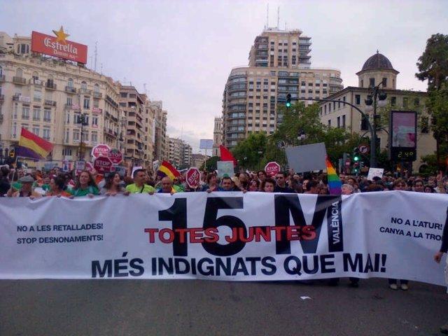 Cabecera de la manifestación 12M en Valencia