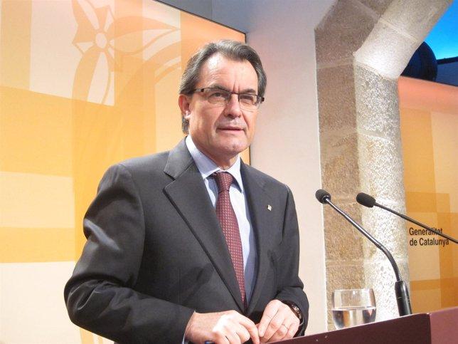 Artur Mas, en el Palau de la Generalitat
