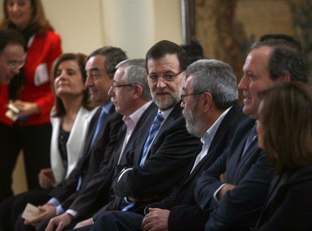 Mariano Rajoy, Ignacio Fernández Toxo, Cándido Méndez, Juan Rosell y Báñez