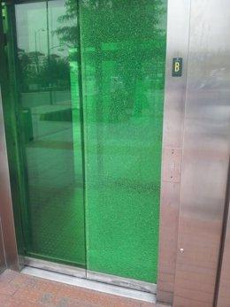 Estado en que quedó el ascensor