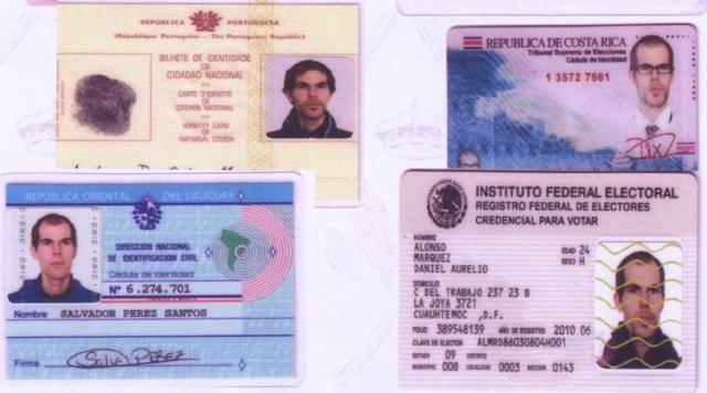 Documentos de identidad falsos incautados a ETA